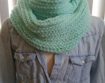 Mint green faux knit infinity scarf
