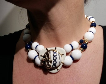 Vintage nautical choker set white and navy with gold brass