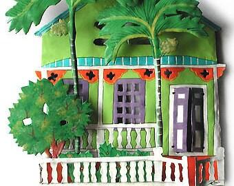 Metal Art, Painted Metal Hook, Caribbean Art, Design, Wall Hook, Metal Wall Art, Gingerbread House, Wall Hook, Tropical Decor, K-1001-GR