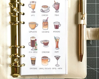 Coffee Addicts: Planner Dashboard/Insert- Filofax, Recollections, Kikki K, Louis Vuitton, fashion illustration, chic, gift for her, birthday