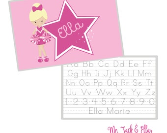 Cheerleader Placemat - Personalized Placemat - Children's Placemat - Child Placemat - Laminated Placemat