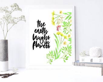 Earth Laughs In Flowers | Ralph Waldo Emerson | Digital Print | Inspirational Printable Art | Poetry Quote | Floral Art | Gifts for Her