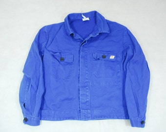 "Vintage Sanforized Faded French Blue Factory Workers Chore Jacket 46"" EU 56  Workwear Twill"
