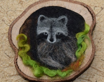 Raccoon needle felted wall hanging
