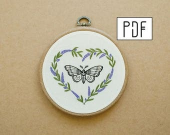 Moth - Butterfly and a Lavender Heart Hand Embroidery Pattern (PDF modern embroidery pattern)