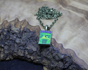 Miniature Book Necklace, Harry Potter *and the half blood prince* with real pages. Hand made, Unique, Dolls house accessories.