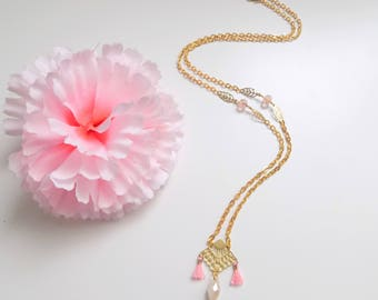 Long range gold, necklace drop faceted White Pearl, pink tassels and beads Crystal pink with golden leaves