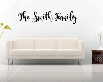 """Custom Family Name Vinyl Decal~ Can be used on front door or inside wall~ 7""""x 3"""" through 22"""" x 10"""", you choose size, font and color"""