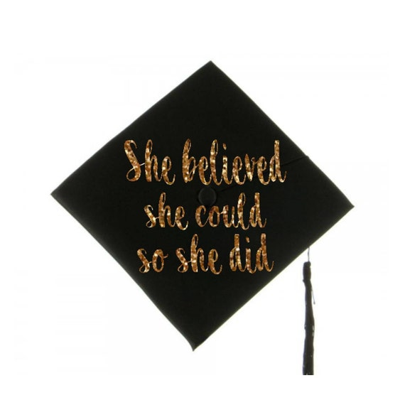 Graduation Cap Decal Graduation Cap Decoration She Believed