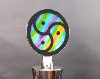 Triskelion BDSM Emblem Rainbow Wine Stopper