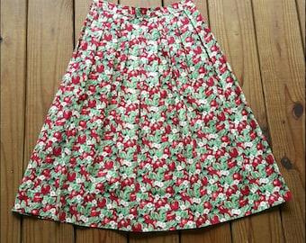 Vintage handmade S/XS cotton apple flower blossom knee length full pleated skirt w/ pockets