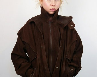 Vintage Real Suede Leather Bomber / Aviator Jacket in Brown