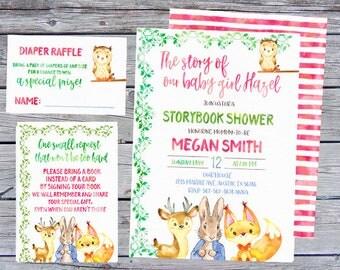 Storybook Baby Shower Invitation, Storybook Invitation, Storybook invites, Once upon a time Invitations, Woodland Baby Shower Invitation,