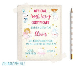 EDITABLE Tooth Fairy Record, Tooth Fairy Certificate, Tooth Fairy Receipt, Tooth Fairy Letter, Tooth Fairy Report, Lost Tooth, Tooth Fairy,
