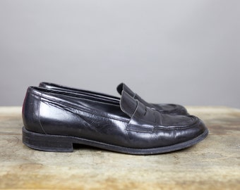 90s JOAN & DAVID LOAFERS black leather size 40 1/2