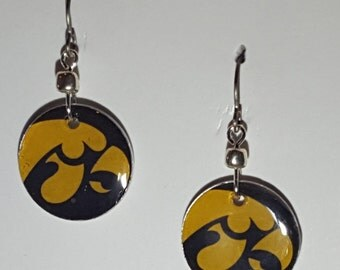 Iowa Hawkeyes earrings, Iowa Hawkeyes jewelry, Hawkeyes, school spirit jewelry