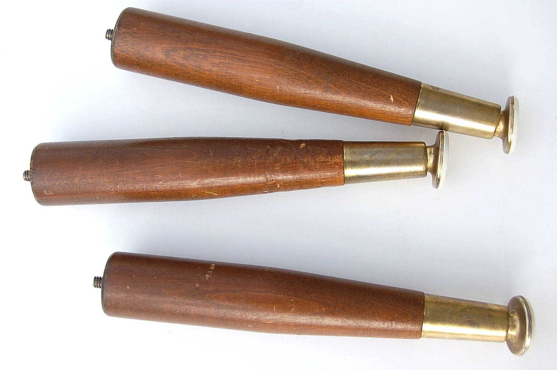 Three 7 3 4 Quot Retro Wood Tapered Furniture Legs Swivel Feet