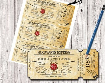 Harry Potter Birthday Ticket Invitation, Hogwarts Invitation, Harry Potter Invites, Ticket Invitation, Harry Potter Party Invitation