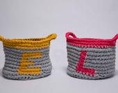 Personalised storage basket, crochet basket, nursery storage, personalised gift, kids room, custom nursery decor, newborn gift,