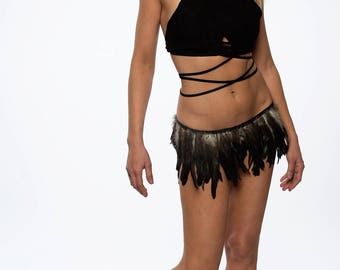 Gypsy Skirt, Burning Man Clothing Women, Music Festival Clothing, Burning Man Clothing, Feather Clothing, Rave Outfit, Feather Outfit,