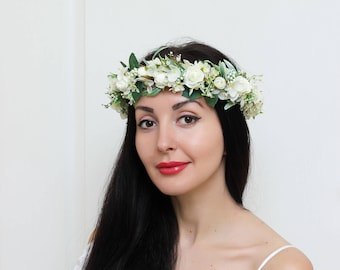 White rose flower crown Bridal hair wreath Wedding halo Flower headband  Boho floral crown Girl flower crown Bridesmaid