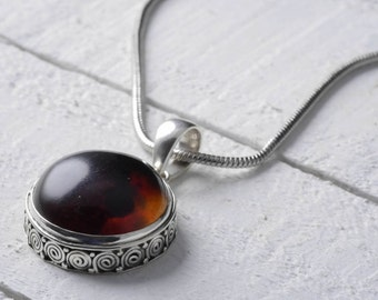 3.5cm Sterling Silver Bezel Set Natural Amber Pendant - Jewelry Making Amber Cabochon Pendant J737