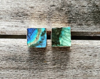Square Labradorite Stud Earrings, Labradorite Studs, Stud Earrings, Labradorite, Gemstone Earrings, Everyday Earrings, Gifts for girlfriend