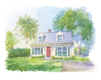 Custom watercolor house portrait Wedding venue painting, Colorful watercolor sketch home illustration, Watercolor of your home