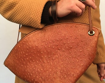 Tan leather textured fortune cookie purse