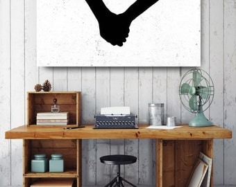 Holding Hands Silhouette, Black and White Print, Silhouette Wall Art, Canvas Wall Decor, Black & White Canvas, Printed on Canvas
