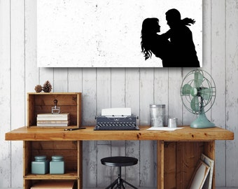 Man and Woman Hugging Silhouette, Black and White Print, Silhouette Wall Art, Canvas Wall Decor, Black & White Canvas Art, Printed on Canvas