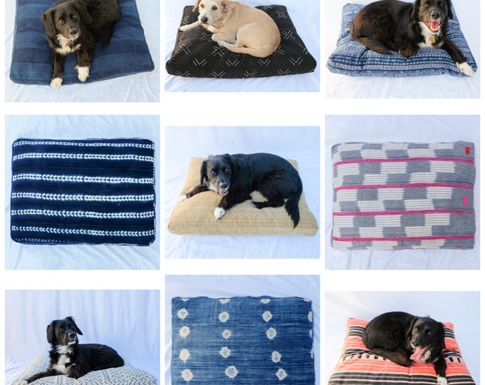 Custom Dog Bed // Shibori, Mudcloth, Stripes, Tie Dye, Indigo, Baoule, Ikat, and more! // Bohemian mudcloth pet bed pillow