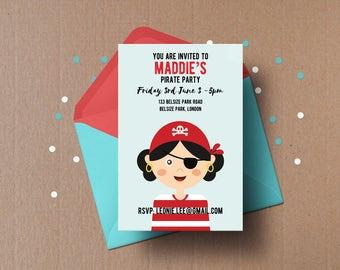 Girls pirate party invitation,  pirate birthday party invite, Custom party invite, Kids birthday invitation, printable birthday card invite