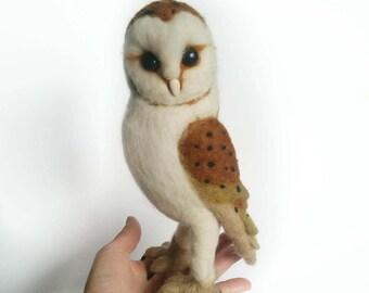 Barn Owl Needle Felt Free Standing Wool Ornament