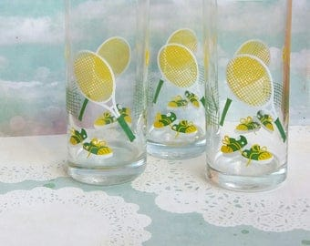 Vintage 1970s Set of Three Tennis themed drinking glasses - Yellow / for fans of Wimbledon