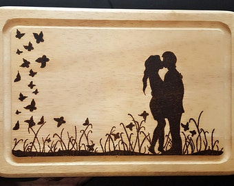 Handmade pyrography kissing couple wooden chopping board