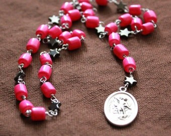 St. Michael Chaplet - Hot Pink Rock Star