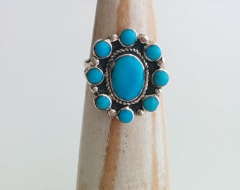 Vintage Sterling Silver Navajo Southwestern Style Turquoise Cluster Flower Ring