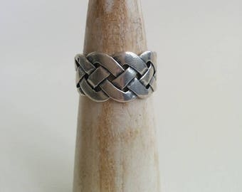 Vintage Sterling Silver Woven Braided Lattice Band Large Size Ring