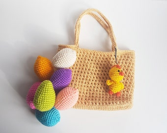 Bags for girl accessories Crochet bag for kids Easter basket Easter Bag Easter games crochet tote kids handbag small crochet bag yarn bag
