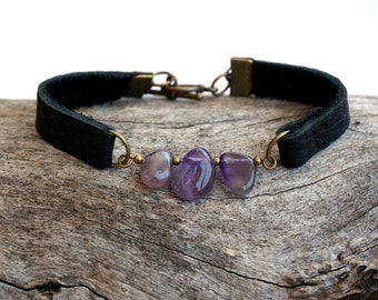 Gemstone Leather Cuff Bracelet for Women - Black Leather Bracelet - Amethyst, Aquamarine, Turquoise, Rose Quartz, Tiger Eye, Black Agate