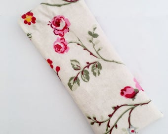 Oilcloth Sunglasses Case/ Glasses Case - off white glasses holder with vintage butterflies and flowers
