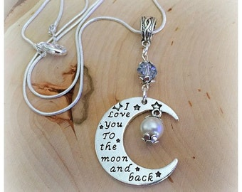 I Love You To The Moon And Back Necklace, Love Necklace, Gifts For Her, I Love You To The Moon and Back Charm Necklace
