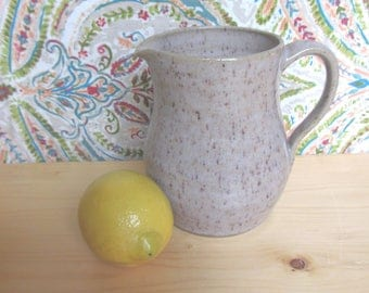 Speckled pottery pitcher, handmade ceramic pitcher, earthtone water pitcher, unique vase, pottery jug, housewarming gift