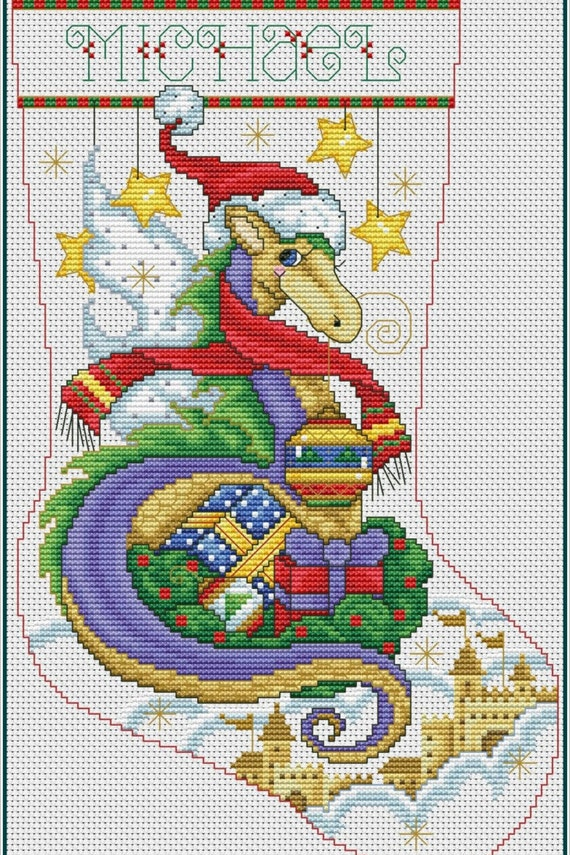 Christmas Stocking Cross Stitch Pattern Dragon Abc Wreath