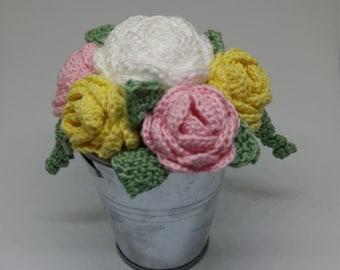 Small Crochet Thread Flowers Inside Bucket **Ready to Ship