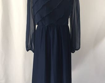 Vintage 1970's Amy-Deb Navy Blue Ruffle Layers Dress, Long Dress, with Sheer Sleeves, Secretary Dress, Disco, Vintage Size 12