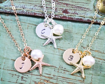 SALE • Beach Wedding Necklace • Starfish Charm Small Starfish Jewelry • Personalized Bridesmaid Gift Idea Rose Gold Starfish Tiny Gift• SU17