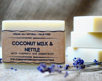 Luxury Coconut Milk Soap - All Natural Soap, Handmade Lavender Mint Soap, Homemade Organic Soap, Vegan Soap, Nettle Soap, Cruelty Free  Soap