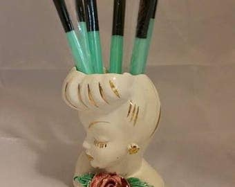Midcentury Chic Ceramic Lady Head Vase 1940's or 1950's With 5 Piece Makeup Brush Set